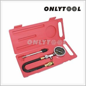 Small Large Engine Compression Tester Gauge Kit Set Tool Spark W Plug Adapters