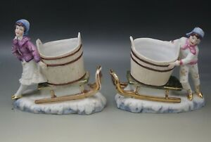 Grafenthal Bisque Victorian Children With Buckets On Sleigh Figurines Pair Antiq