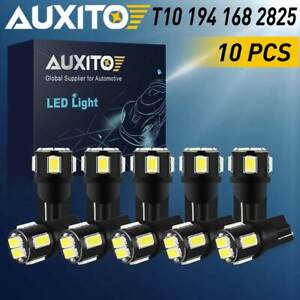 10x Auxito Super White 194 2825 T10 168 Interior License Plate Led Light Bulb 5w