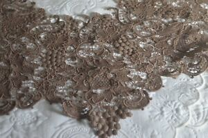 Large 19th Century Victorian Mocha Shawl Collar Princess Lace Vv154