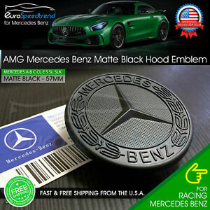 Amg Front Hood Emblem Matte Black Flat Laurel Wreath Badge Mercedes Benz 57mm C
