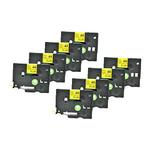 8pk Heat Shrink Cartridge Label Black On Yellow Hse611 For Brother P touch 1 4