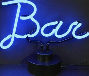 Neon Bar Lighted Sign Sculpture Electric Black Base Mounted