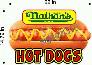 Nathan s Famous Hot Dog 22 Concessions Sign Decal Food Hot Dog Cart Sticker