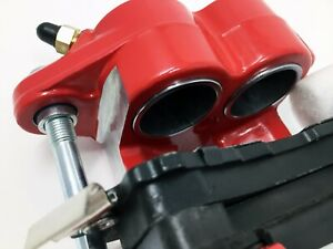 Gm Metric Front Disc Brake Calipers Dual Twin Piston Md154 Pads Red