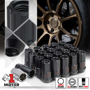 16 Black M12x1 5 45mm Full Threaded Open End Tuner Wheel Lug Nut W 4 Lock Key