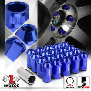 20 Blue M12x1 5 44mm Aluminum Open End Knurled Top Tuner Wheel Lug Nut adapter