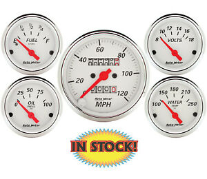 Autometer 1300 Arctic White 5 Gauge Mechanical Speedo Kit 3 1 8