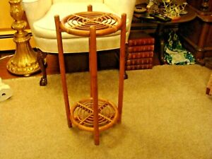 Vintage Boho Coastal Hand Woven Wicker Rattan Accent Plant Stand Table