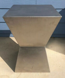 Brushed Stainless Steel Side Table Square Top And Base Tapered Stem