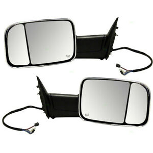Pair Set Towing Mirrors Power Chrome Heated For 09 10 Dodge Ram 11 12 Ram Truck