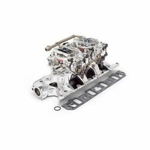 Edelbrock 20354 Ford 289 302 Rpm Air gap Dual Quad Intake 500cfm Carbs Polished