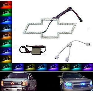 Chevy Bowtie Emblem Multi color Changing Led Rgb Halo Ring Set W Y splitter