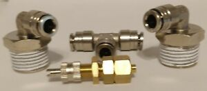 Inflation Valve 1 4 Air Line Schrader Fitting With Two 90 Degree 1 2 Npt
