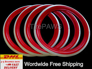 Universal Wheels 17 Red White Sidewall Tire Insert Trim Set Hot Rod
