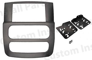 Double Din Factory Matched Graphite Grey Dash Kit Fits 2002 2005 Dodge Ram Truck