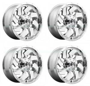 20x12 Fuel D573 Cleaver 8x6 5 8x165 1 44 Chrome Wheels Rims Set 4