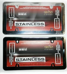 Pair Real Plain Stainless Steel Chrome License Plate Frame 21110 Auto Car