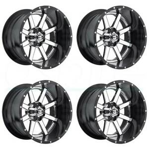 20x10 Fuel D260 Maverick 8x170 19 Chrome Black Lip Wheels Rims Set 4