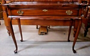 Cherry 1 Drawer Sofa Table Side Stand Ruffle Edge Top Queen Anne Legs Usa Made
