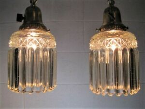 Pendant Lights Pair 2 Antique Brass Matching Crystal Prism Shades Jefferson
