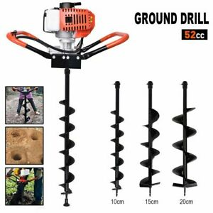 Usa 52cc Post Hole Digger Gas Powered Earth Auger Borer Fence Ground Drill 3 Bit
