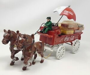 Vintage Coca-Cola Cast Iron Delivery Wagon With Driver, Horses and Crates