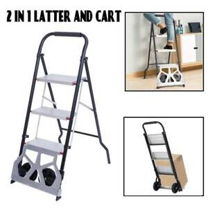 2 in 1 Practical 3 step Ladder And Hand Truck Trolley Cart Folding W Two Wheels