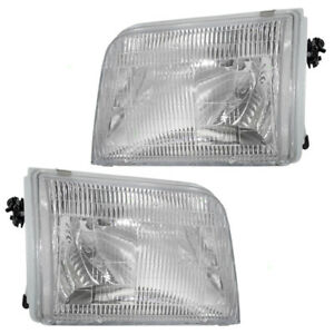 Pair Set Headlights Headlamps With Housing For 93 97 Ford Ranger Pickup Truck