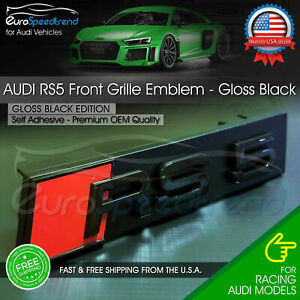 Audi Rs5 Front Grill Emblem Gloss Black For Rs5 A S5 Hood Grille Badge Nameplate