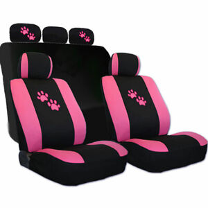 For Subaru Car Seat Covers With Pink Paws Logo Set Tone Front And Rear New