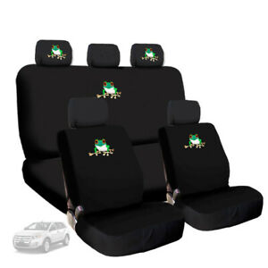 For Bmw Frog Embroidery Logo Car Seat Covers Headrest Steering Wheel Cover