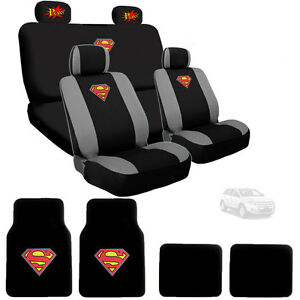 For Ford New Superman Car Seat Cover Floor Mats With Pow Logo Headrest Cover