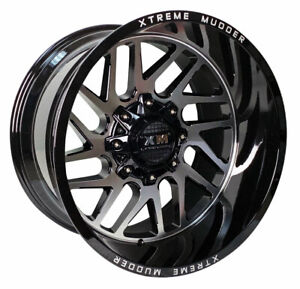 4 Four 20 Xtreme Mudder Xm 339 20x12 44 5 Lug Off Road Wheel Black Machine