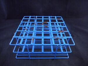Laboratory Metal 25 20mm Tube Vial Rack Holder 36 Place Epoxy Wire 6 X 6 Blue
