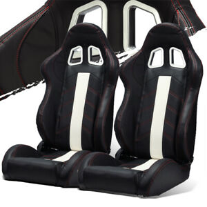 Black Pvc Leather White Strip Red Stitching Left Right Recaro Style Racing Seats