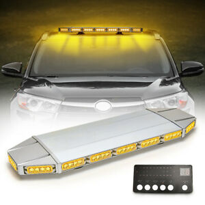 27 64 Led Emergency Light Bar Strobe Roof Beacon Tow Truck Warning Plow Amber