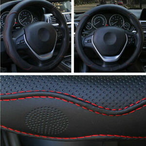 Car Pu Leather Steering Wheel Cover Anti Slip Protector Fit 38cm Black With Red