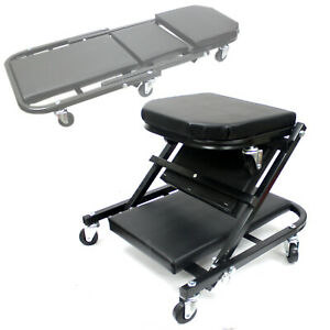 2 In 1 Creeper Foldable Seat Rolling Chair 4 Mechanics Work Stool Garage Shop