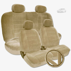 Premium Grade Beige Velour Fabric Car Seat Steering Covers Set For Hyundai