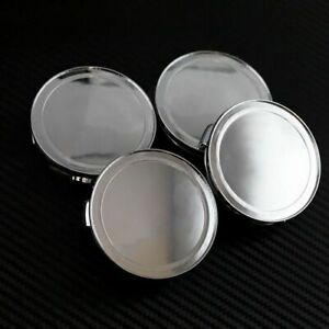 No Logo Universal 76mm Chrome Silver Replacement Wheel Center Caps Covers