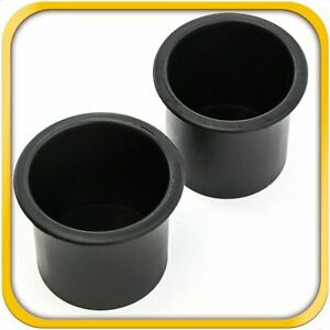 2 Black Plastic Cup Holders Boat Rv Car Truck Inserts Universal Size New