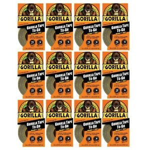 Gorilla Tape To go Travel Roll 1in X 30ft Double Thick Hand Tearable Black 12pk