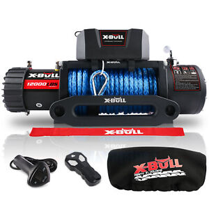 X Bull 12000lbs 12v Electric Winch Synthetic Rope Jeep Towing Truck Off Road 4wd