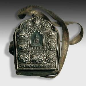 Antique Gao Prayer Box Silver Copper Ashtamangala Tsatsa Nepal Tibet Buddhist