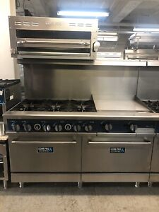 6 Burner Gas Range With 24 Grill And Salamander Included 60 Overall