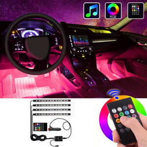 7 Color Rgb Led Neon Strip Lights Music Remote Control For Car Interior Lighting