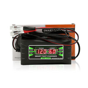 12v 6a Smart Fast Lead Acid Battery Charger For Car Or Motorcycle Lcd Display Eu