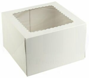 Pie Cake Bakery Box 10 X 10 X 5 Inch White Paperboard With A Window 25 Pieces