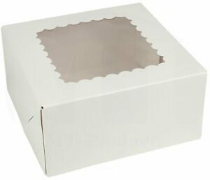 Pie Cake Bakery Box 8 X 8 X 5 Inch White Paperboard With A Window 25 Pieces